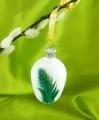 4 cm Osterei mit grünen Perlhuhnfedern, 12-fach