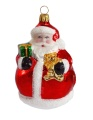 dicker Weihnachtsmann mit Teddy und Geschenk