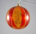 10 cm Kugel transparent, rote Viertel, Glimmerblume, 6-fach